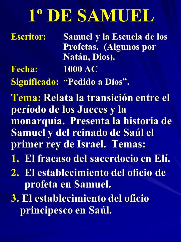 Escritor: Samuel y la Escuela de los Profetas. (Algunos por Natán, Dios). Fecha:1000 AC Significado:Pedido a Dios. 1º DE SAMUEL Tema: Relata la transi