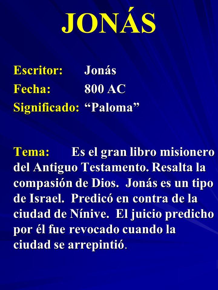 Escritor:Jonás Fecha:800 AC Significado:Paloma JONÁS Tema:Es el gran libro misionero del Antiguo Testamento. Resalta la compasión de Dios. Jonás es un