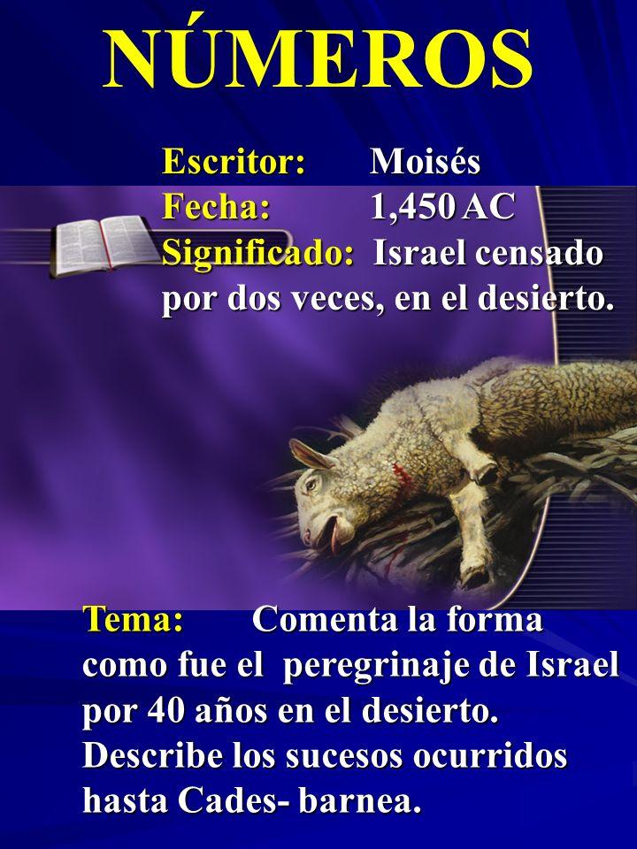 Escritor:Moisés Fecha:1,450 AC Significado: Israel censado por dos veces, en el desierto. NÚMEROS Tema:Comenta la forma como fue el peregrinaje de Isr