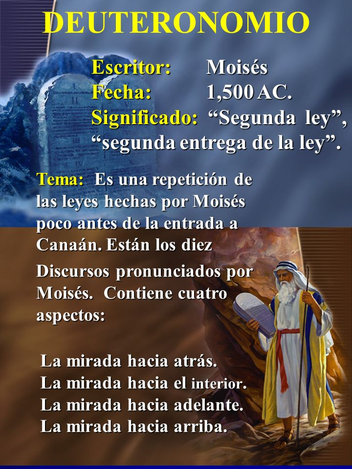 Escritor: Josué Fecha: 1,400 AC Significado:Salvador, Jehová es salvación, JOSUÉ Tema:La conquista de Canaán bajo el liderazgo de Josué y la división de la tierra entre las doce tribus.