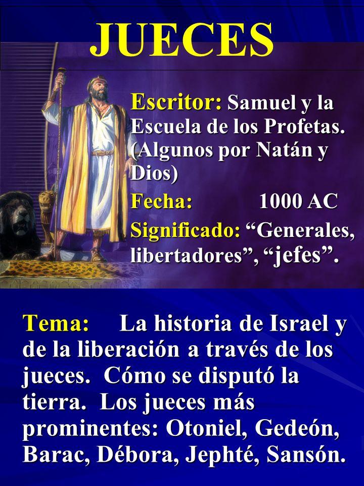 Escritor:Samuel y la Escuela de los Profetas.(Algunos por Natán, Dios).