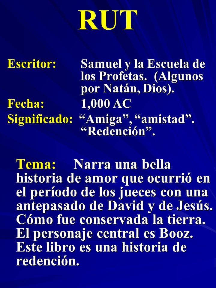 Escritor:Samuel y la Escuela de los Profetas. (Algunos por Natán, Dios). Fecha:1,000 AC Significado: Amiga, amistad. Redención. RUT Tema:Narra una bel