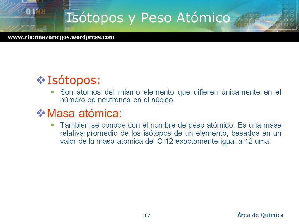 www.rhermazariegos.wordpress.com Ejemplo En la notación : El número atómico, Z es 6 El número de masa, A es 14 El número de protones es 6. El número d