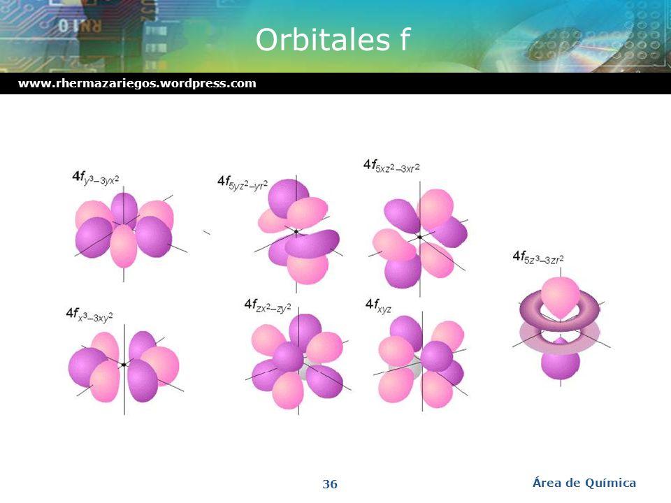 www.rhermazariegos.wordpress.com Orbitales s, p y d en conjunto Área de Química 35