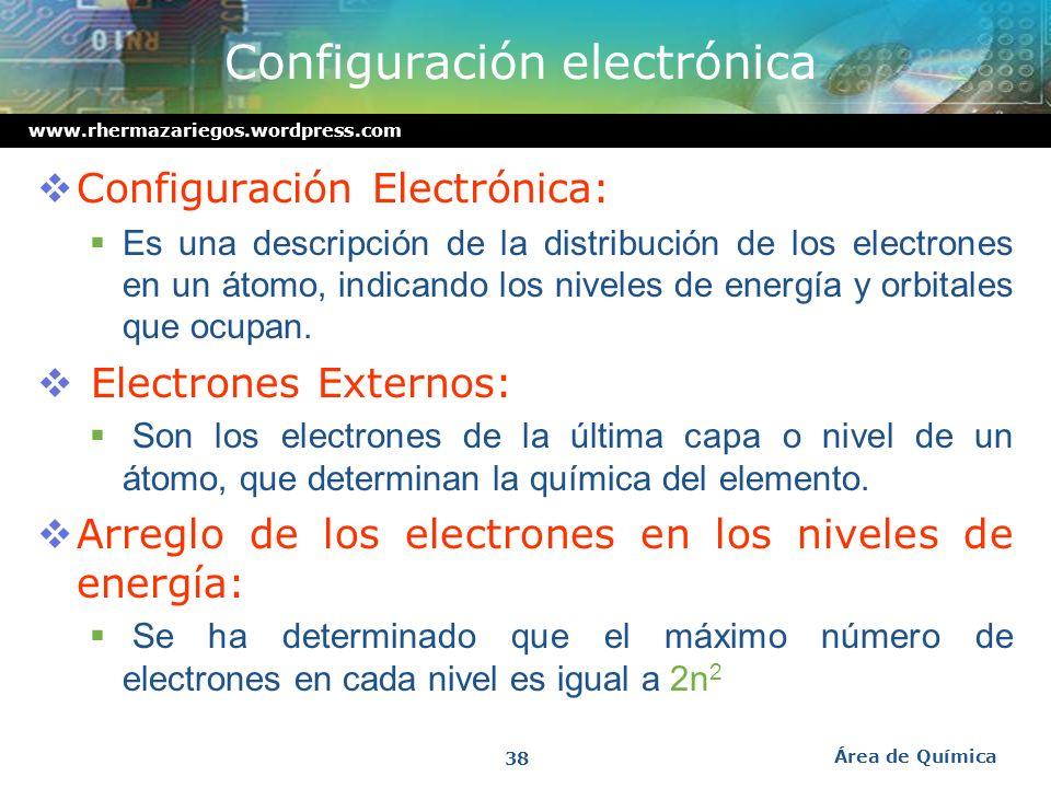www.rhermazariegos.wordpress.com Modelo mecánico-cuántico del átomo Un orbital atómico es un volumen del espacio en el cual pueden residir los electro