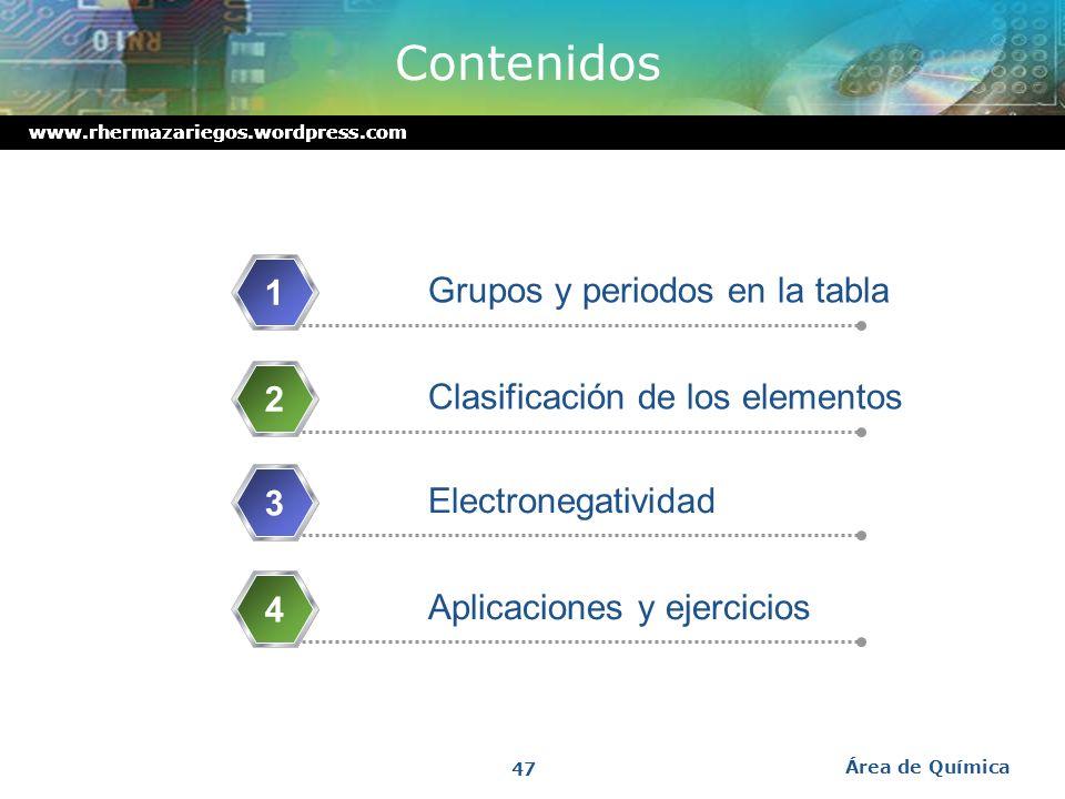 www.rhermazariegos.wordpress.com Tipos de Configuración Electrónica Desarrollada: Semidesarrollada: Abreviada: Área de Química 46