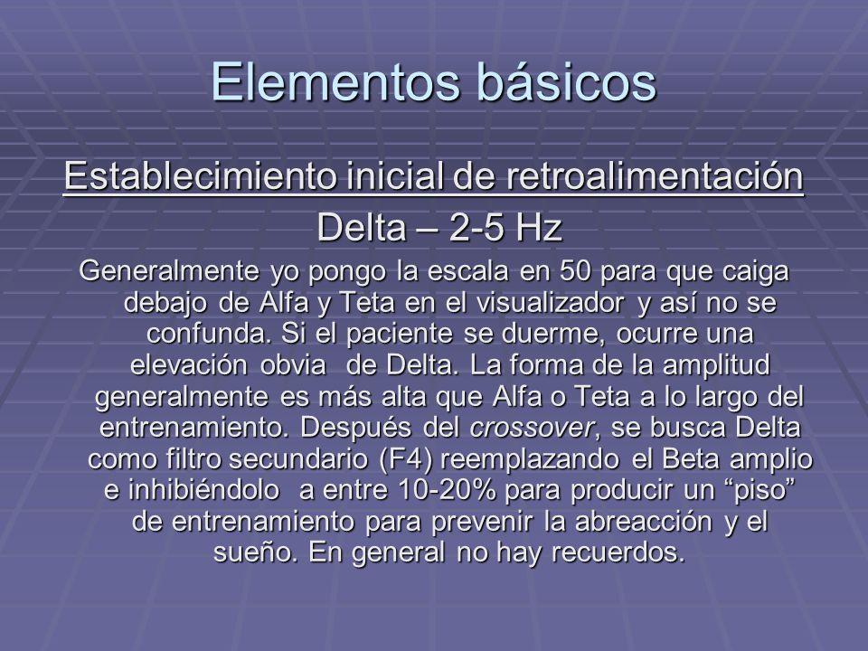 Elementos básicos Establecimiento inicial de retroalimentación Delta – 2-5 Hz Delta – 2-5 Hz Generalmente yo pongo la escala en 50 para que caiga deba