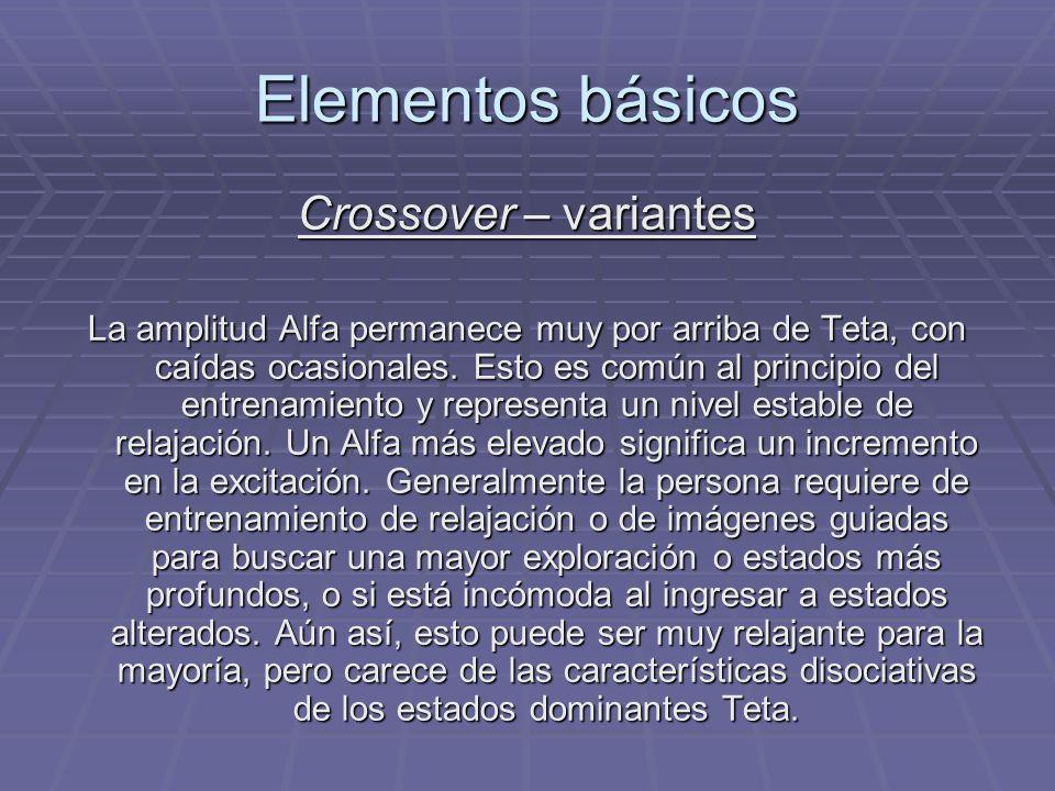 Elementos básicos Crossover – variantes La amplitud Alfa permanece muy por arriba de Teta, con caídas ocasionales. Esto es común al principio del entr