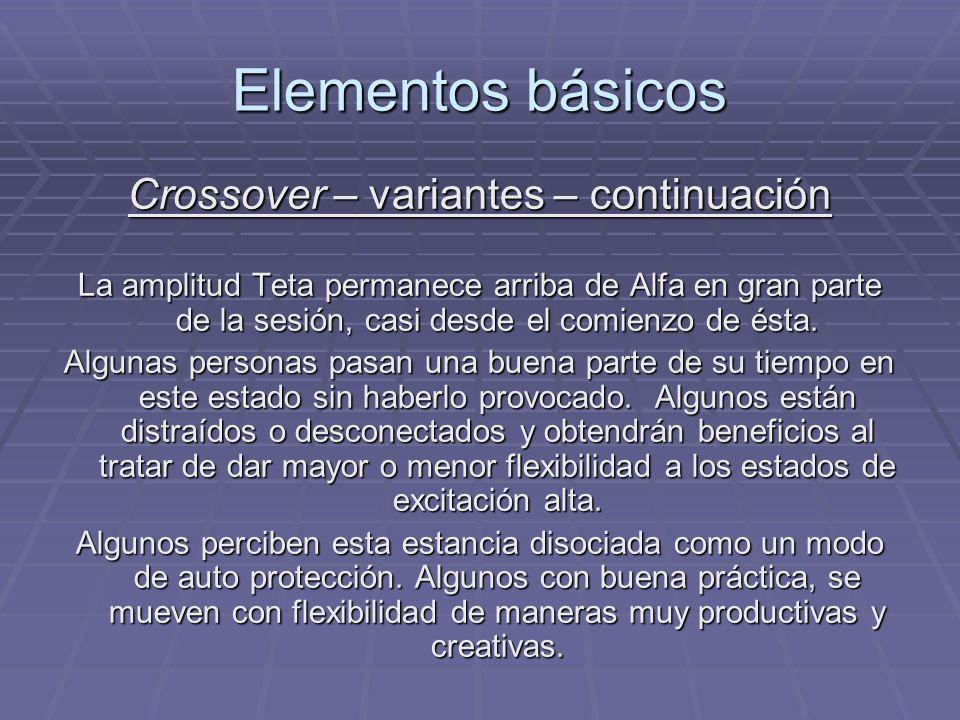 Elementos básicos Crossover – variantes – continuación La amplitud Teta permanece arriba de Alfa en gran parte de la sesión, casi desde el comienzo de