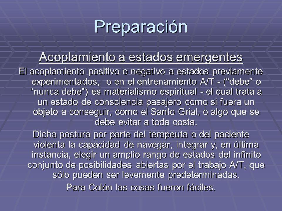 Preparación Acoplamiento a estados emergentes El acoplamiento positivo o negativo a estados previamente experimentados, o en el entrenamiento A/T - (d