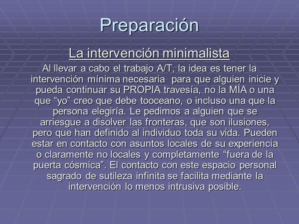 Preparación La intervención minimalista Al llevar a cabo el trabajo A/T, la idea es tener la intervención mínima necesaria para que alguien inicie y p