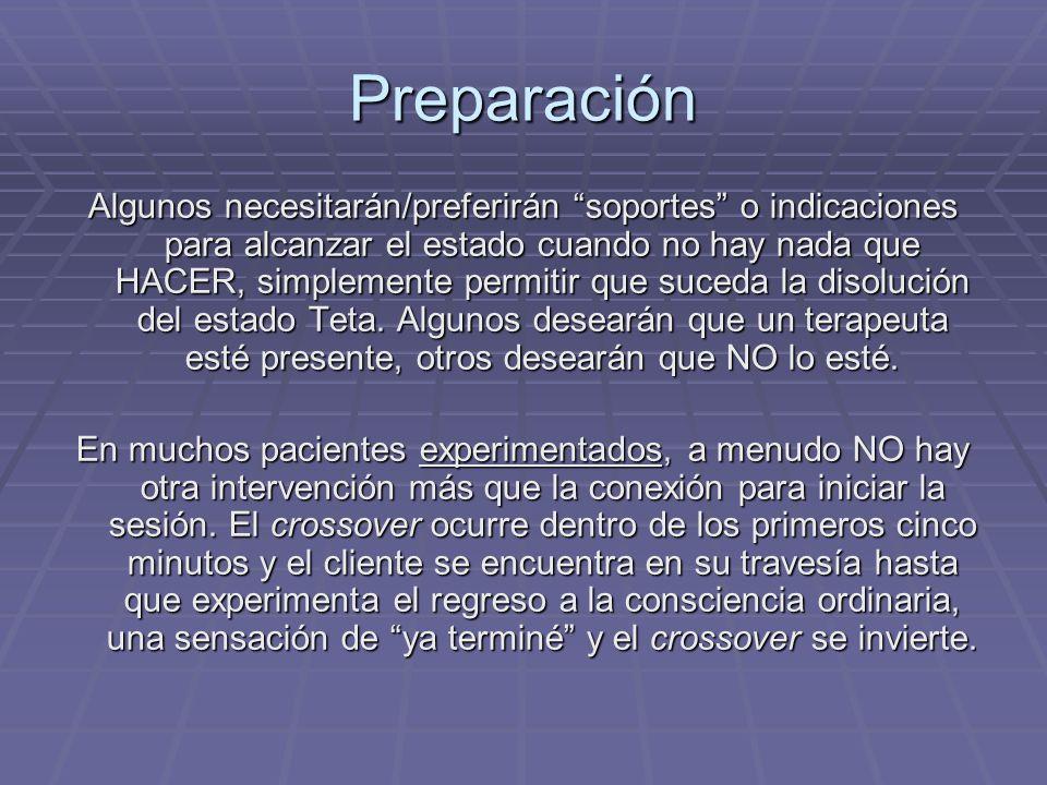 Preparación Algunos necesitarán/preferirán soportes o indicaciones para alcanzar el estado cuando no hay nada que HACER, simplemente permitir que suce
