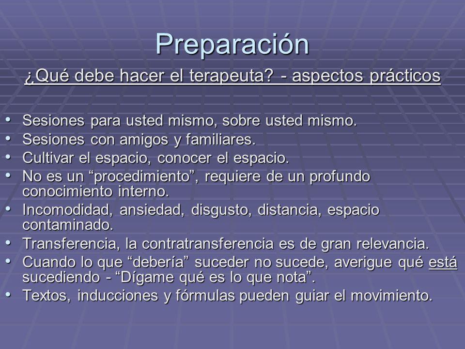 Preparación ¿Qué debe hacer el terapeuta? - aspectos prácticos Sesiones para usted mismo, sobre usted mismo. Sesiones para usted mismo, sobre usted mi
