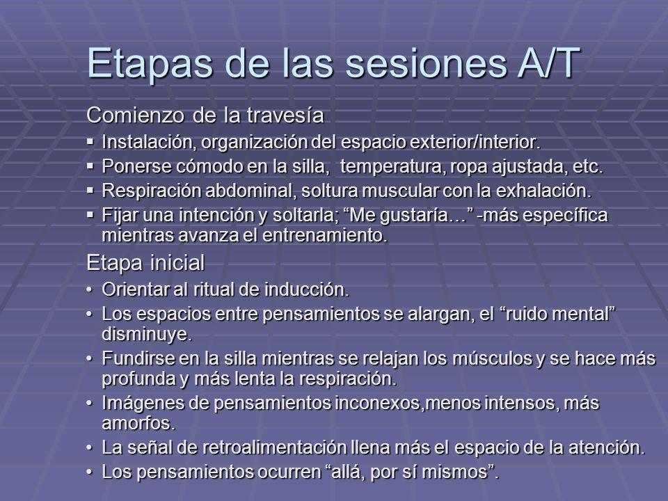 Etapas de las sesiones A/T Comienzo de la travesía Instalación, organización del espacio exterior/interior. Instalación, organización del espacio exte