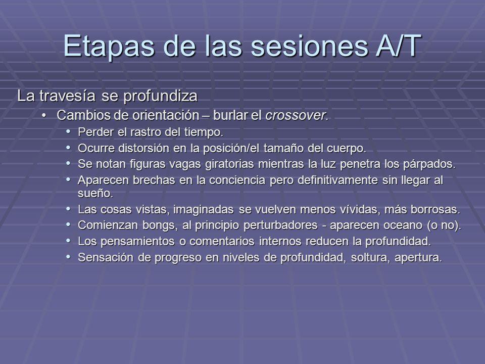 Etapas de las sesiones A/T La travesía se profundiza Cambios de orientación – burlar el crossover.Cambios de orientación – burlar el crossover. Perder