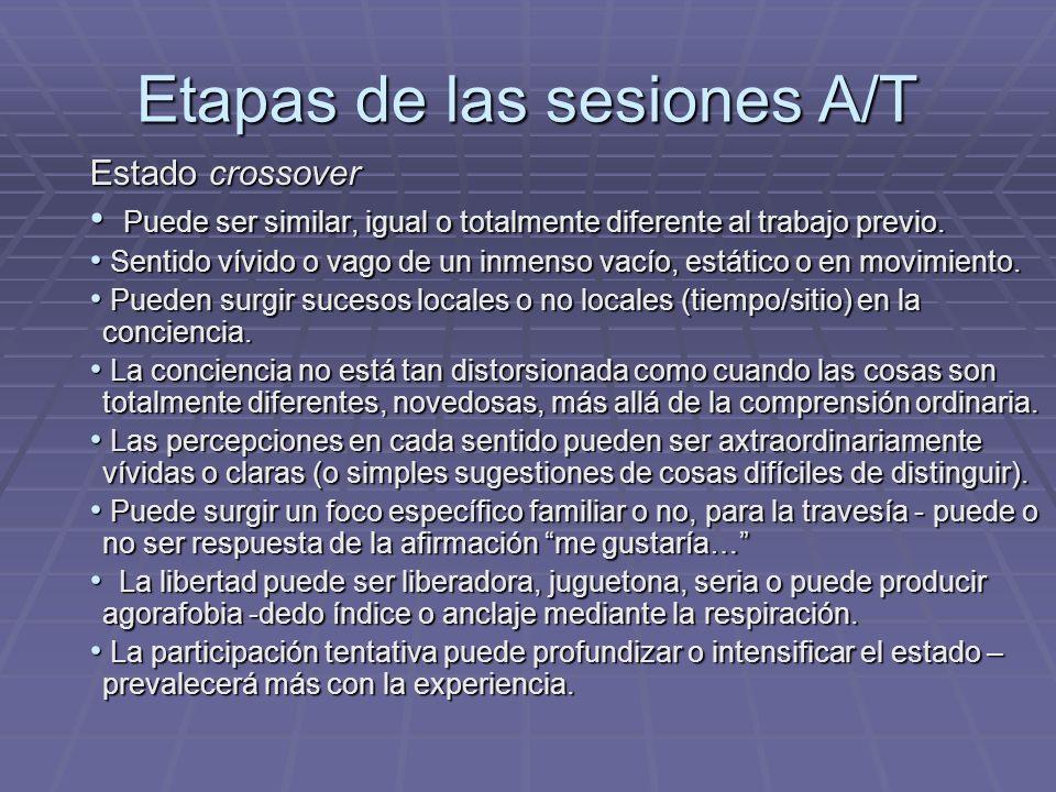 Etapas de las sesiones A/T Estado crossover Puede ser similar, igual o totalmente diferente al trabajo previo. Puede ser similar, igual o totalmente d