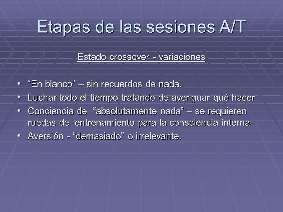 Etapas de las sesiones A/T Estado crossover - variaciones En blanco – sin recuerdos de nada. En blanco – sin recuerdos de nada. Luchar todo el tiempo