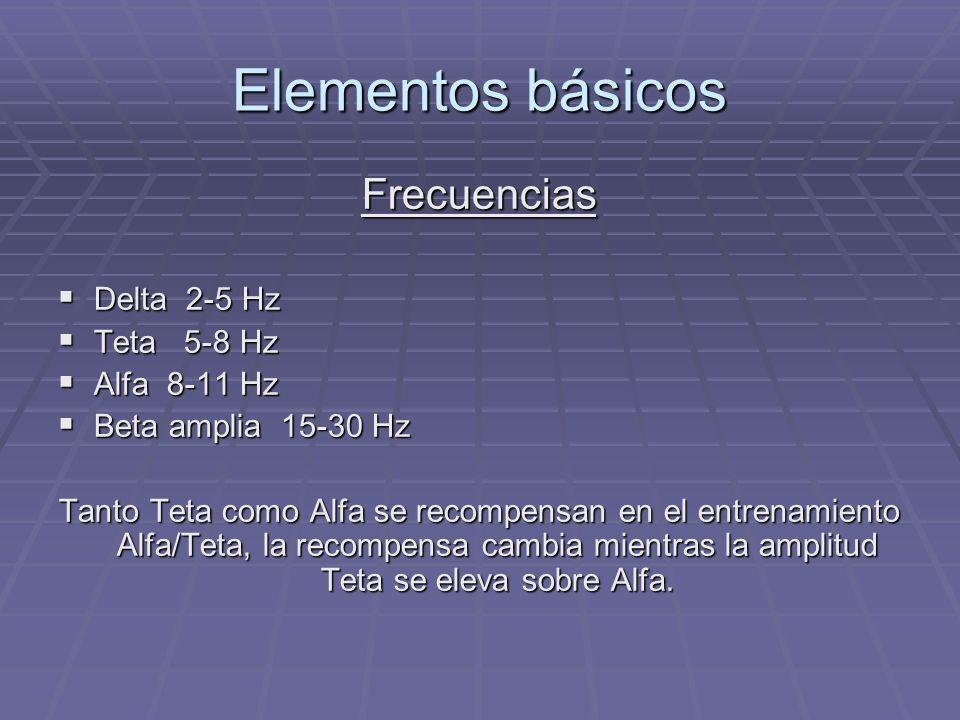 Elementos básicos Frecuencias Delta 2-5 Hz Delta 2-5 Hz Teta 5-8 Hz Teta 5-8 Hz Alfa 8-11 Hz Alfa 8-11 Hz Beta amplia 15-30 Hz Beta amplia 15-30 Hz Ta