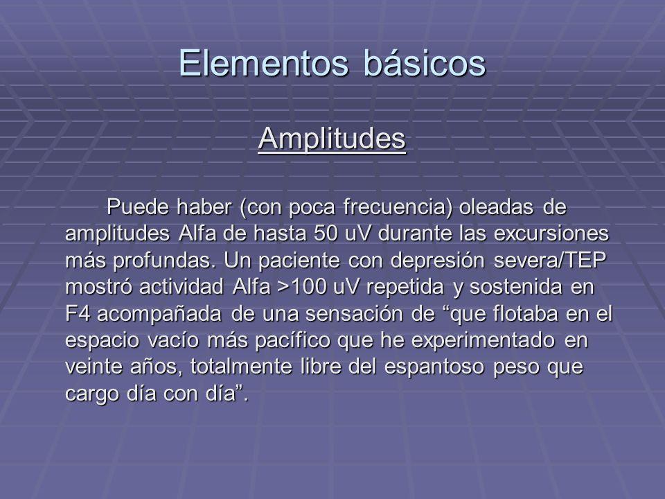 Elementos básicos Amplitudes Puede haber (con poca frecuencia) oleadas de amplitudes Alfa de hasta 50 uV durante las excursiones más profundas. Un pac