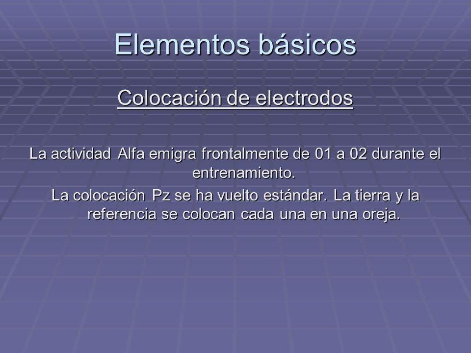 Elementos básicos Colocación de electrodos La actividad Alfa emigra frontalmente de 01 a 02 durante el entrenamiento. La colocación Pz se ha vuelto es