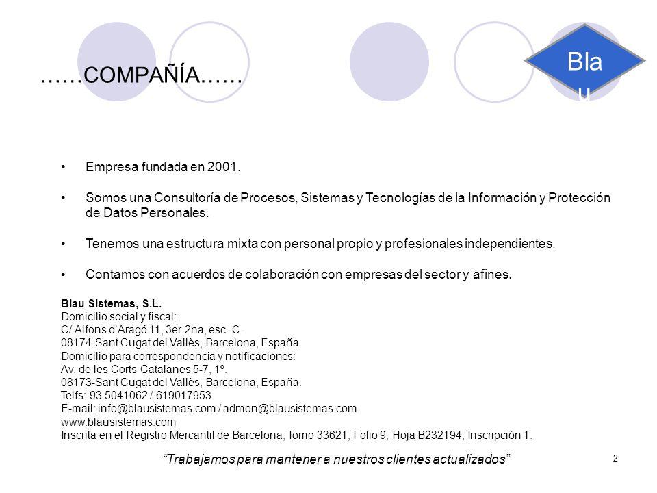 2 ……COMPAÑÍA…… Empresa fundada en 2001. Somos una Consultoría de Procesos, Sistemas y Tecnologías de la Información y Protección de Datos Personales.