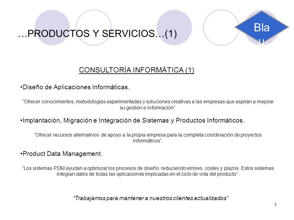 3 …PRODUCTOS Y SERVICIOS…(1) CONSULTORÍA INFORMÁTICA (1) Diseño de Aplicaciones Informáticas. Ofrecer conocimientos, metodologías experimentadas y sol