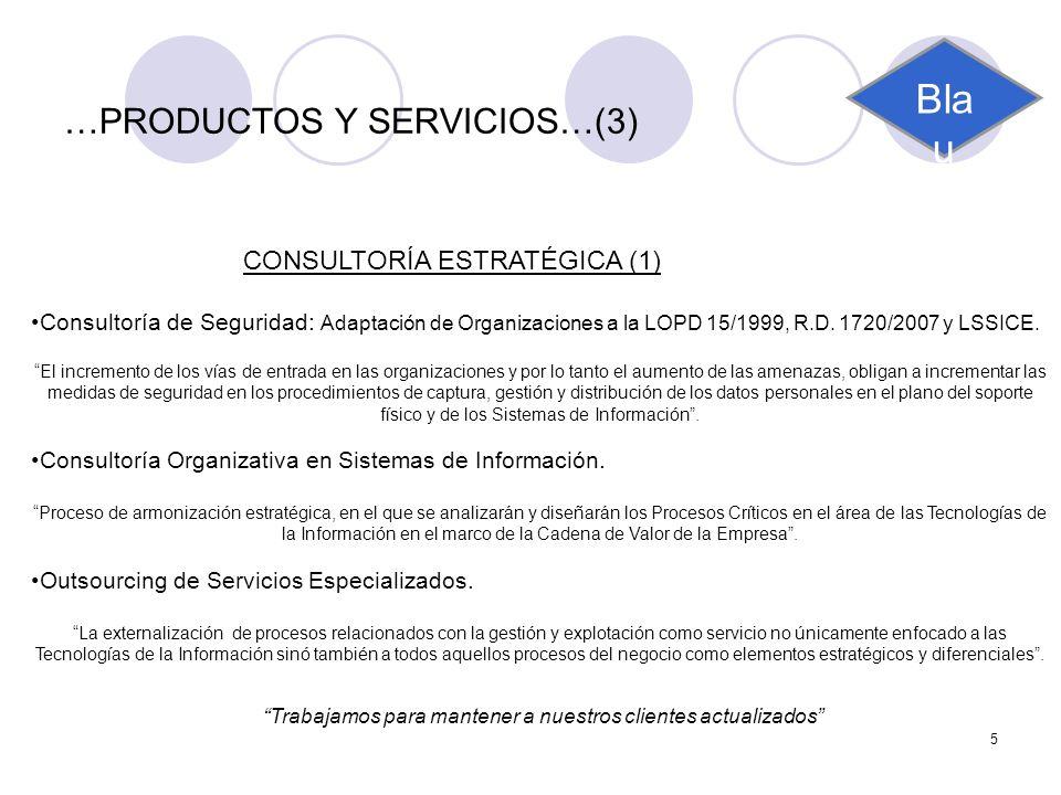 5 …PRODUCTOS Y SERVICIOS…(3) CONSULTORÍA ESTRATÉGICA (1) Consultoría de Seguridad: Adaptación de Organizaciones a la LOPD 15/1999, R.D. 1720/2007 y LS