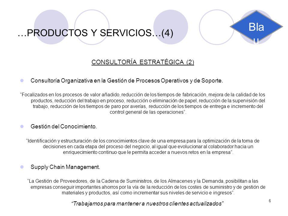 6 …PRODUCTOS Y SERVICIOS…(4) CONSULTORÍA ESTRATÉGICA (2) Consultoría Organizativa en la Gestión de Procesos Operativos y de Soporte. Focalizados en lo