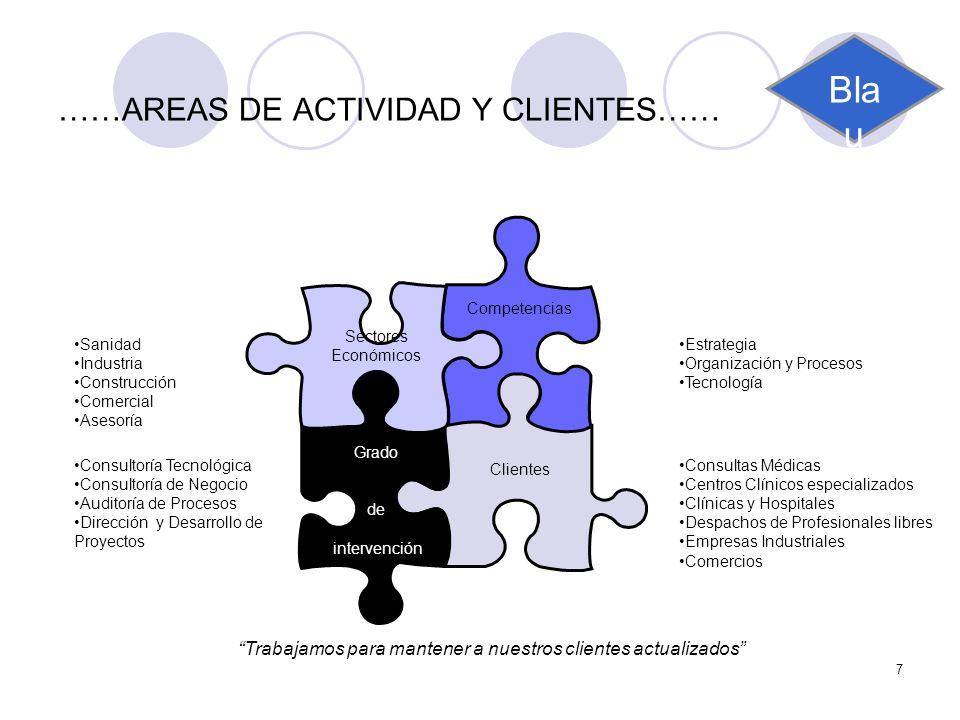 7 ……AREAS DE ACTIVIDAD Y CLIENTES…… Competencias Clientes Grado de intervención Sectores Económicos Estrategia Organización y Procesos Tecnología Sani