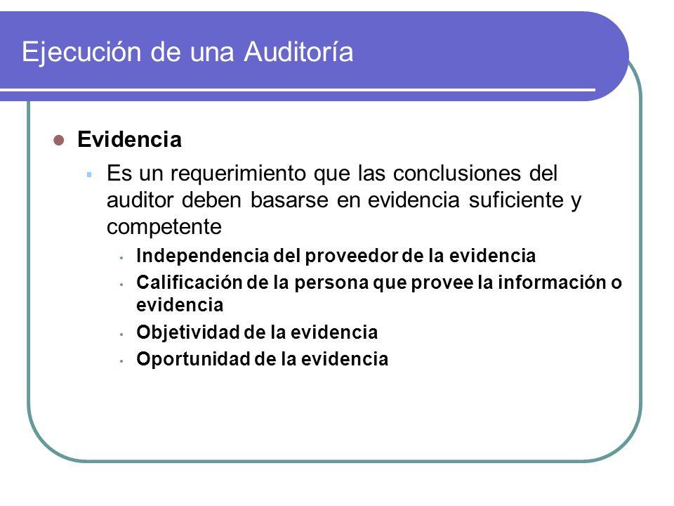 Ejecución de una Auditoría Evidencia Es un requerimiento que las conclusiones del auditor deben basarse en evidencia suficiente y competente Independe