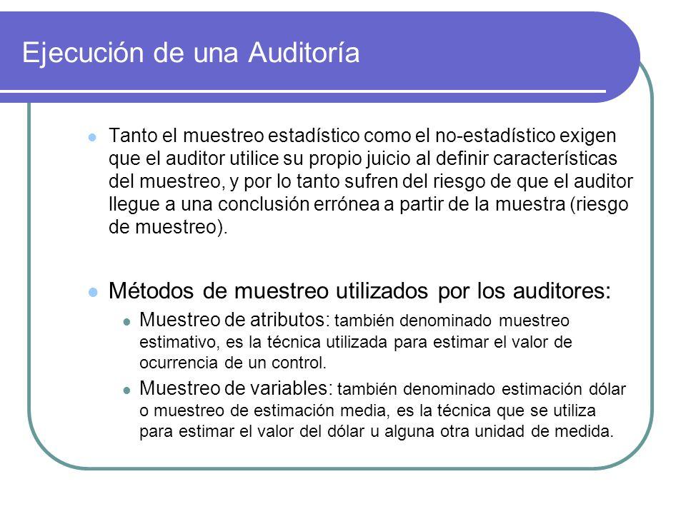 Ejecución de una Auditoría Tanto el muestreo estadístico como el no-estadístico exigen que el auditor utilice su propio juicio al definir características del muestreo, y por lo tanto sufren del riesgo de que el auditor llegue a una conclusión errónea a partir de la muestra (riesgo de muestreo).