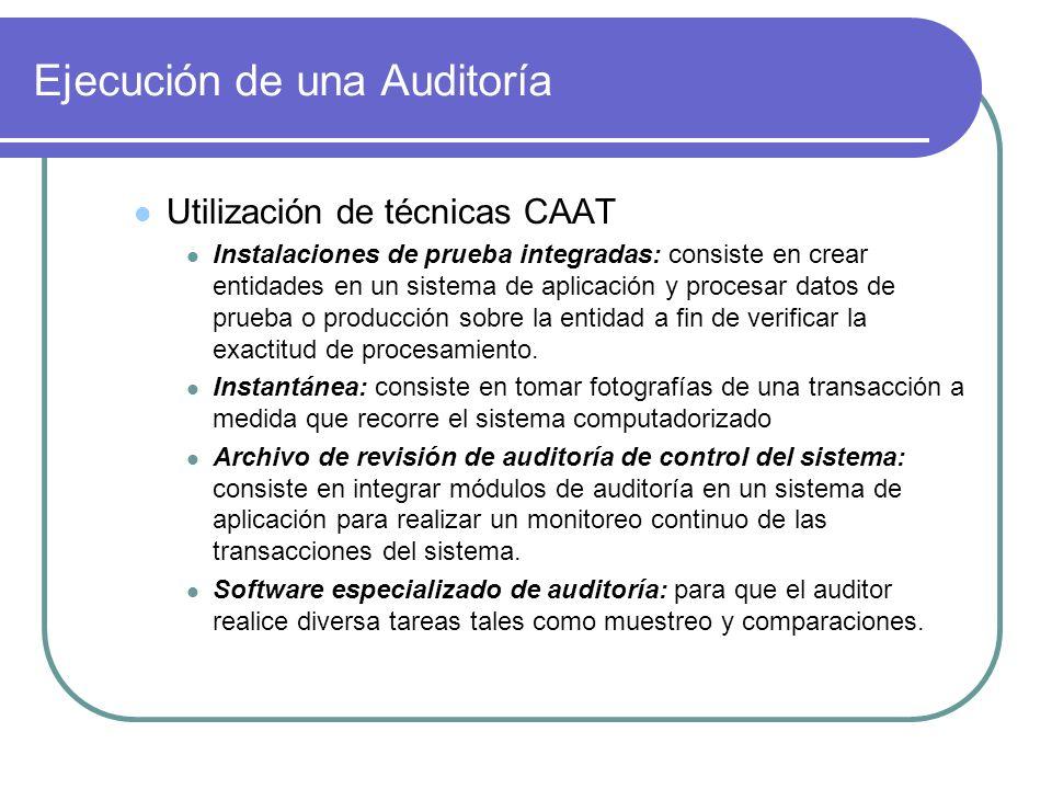 Ejecución de una Auditoría Utilización de técnicas CAAT Instalaciones de prueba integradas: consiste en crear entidades en un sistema de aplicación y procesar datos de prueba o producción sobre la entidad a fin de verificar la exactitud de procesamiento.