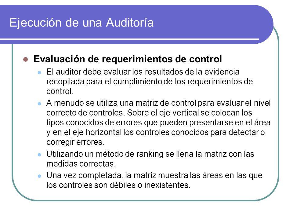 Ejecución de una Auditoría Evaluación de requerimientos de control El auditor debe evaluar los resultados de la evidencia recopilada para el cumplimie