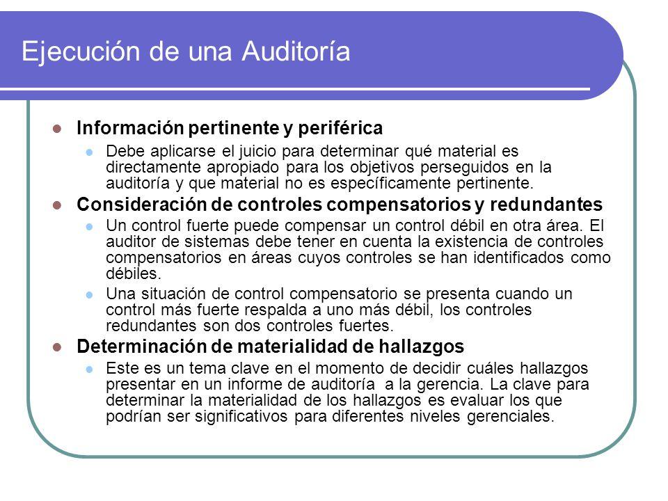 Ejecución de una Auditoría Información pertinente y periférica Debe aplicarse el juicio para determinar qué material es directamente apropiado para los objetivos perseguidos en la auditoría y que material no es específicamente pertinente.