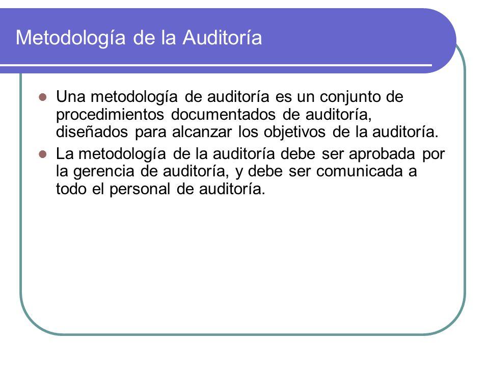 Metodología de la Auditoría Una metodología de auditoría es un conjunto de procedimientos documentados de auditoría, diseñados para alcanzar los objetivos de la auditoría.