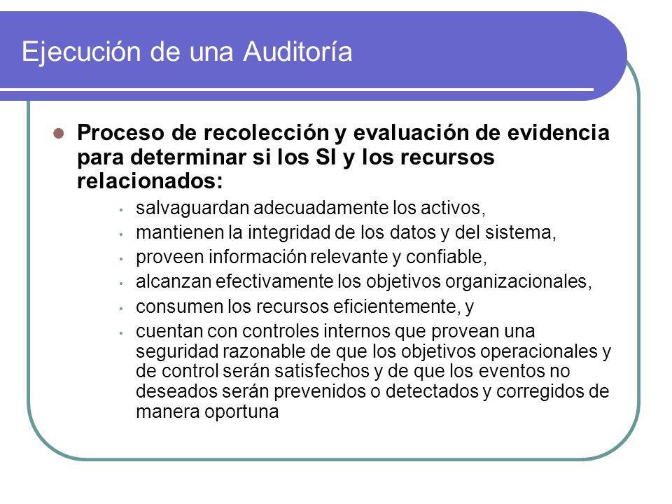 Ejecución de una Auditoría Proceso de recolección y evaluación de evidencia para determinar si los SI y los recursos relacionados: salvaguardan adecua