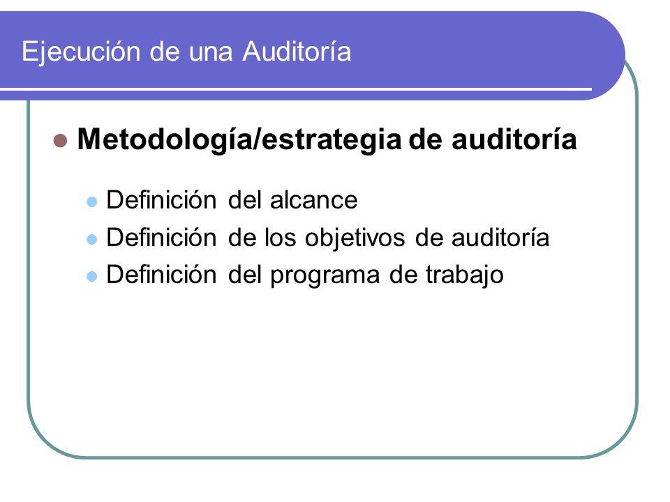 Ejecución de una Auditoría Metodología/estrategia de auditoría Definición del alcance Definición de los objetivos de auditoría Definición del programa de trabajo