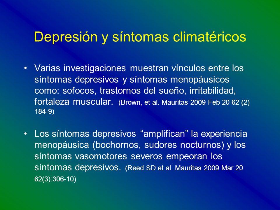Depresión y síntomas climatéricos Varias investigaciones muestran vínculos entre los síntomas depresivos y síntomas menopáusicos como: sofocos, trasto