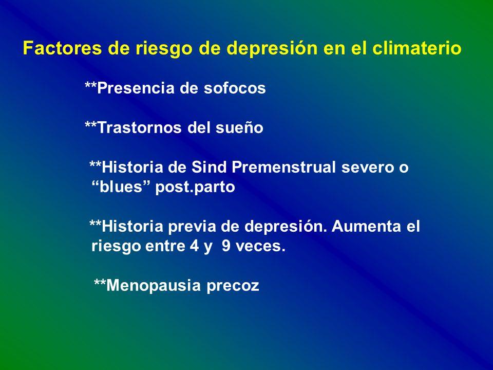 Factores de riesgo de depresión en el climaterio **Presencia de sofocos **Trastornos del sueño **Historia de Sind Premenstrual severo o blues post.par