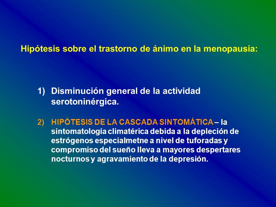 Hipótesis sobre el trastorno de ánimo en la menopausia: 1)Disminución general de la actividad serotoninérgica. 2)HIPÓTESIS DE LA CASCADA SINTOMÁTICA –