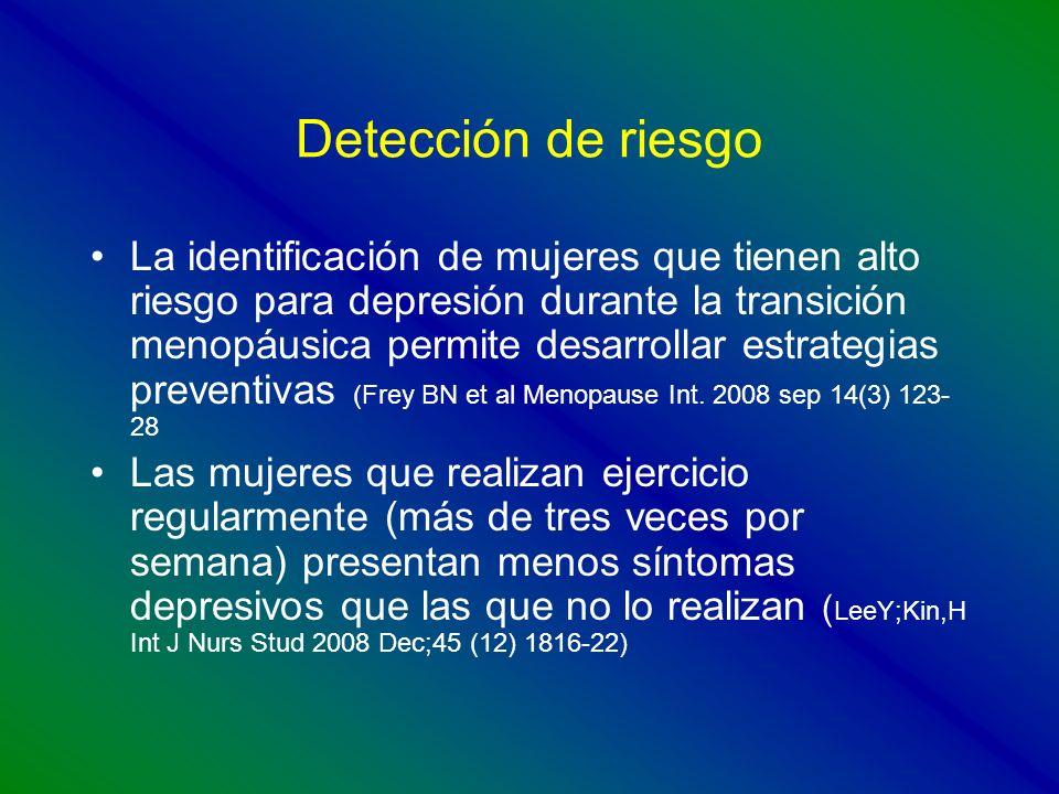 Detección de riesgo La identificación de mujeres que tienen alto riesgo para depresión durante la transición menopáusica permite desarrollar estrategi