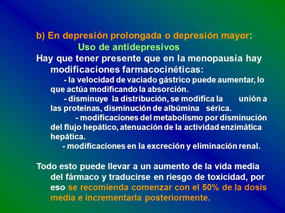 b) En depresión prolongada o depresión mayor: Uso de antidepresivos Hay que tener presente que en la menopausia hay modificaciones farmacocinéticas: -