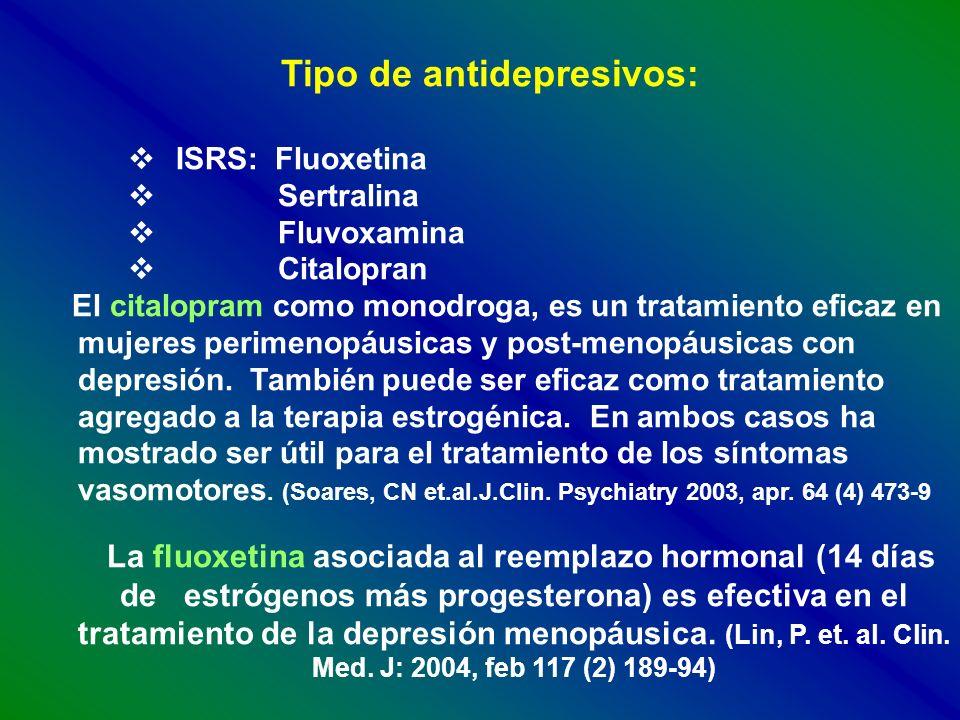 Tipo de antidepresivos: ISRS: Fluoxetina Sertralina Fluvoxamina Citalopran El citalopram como monodroga, es un tratamiento eficaz en mujeres perimenop