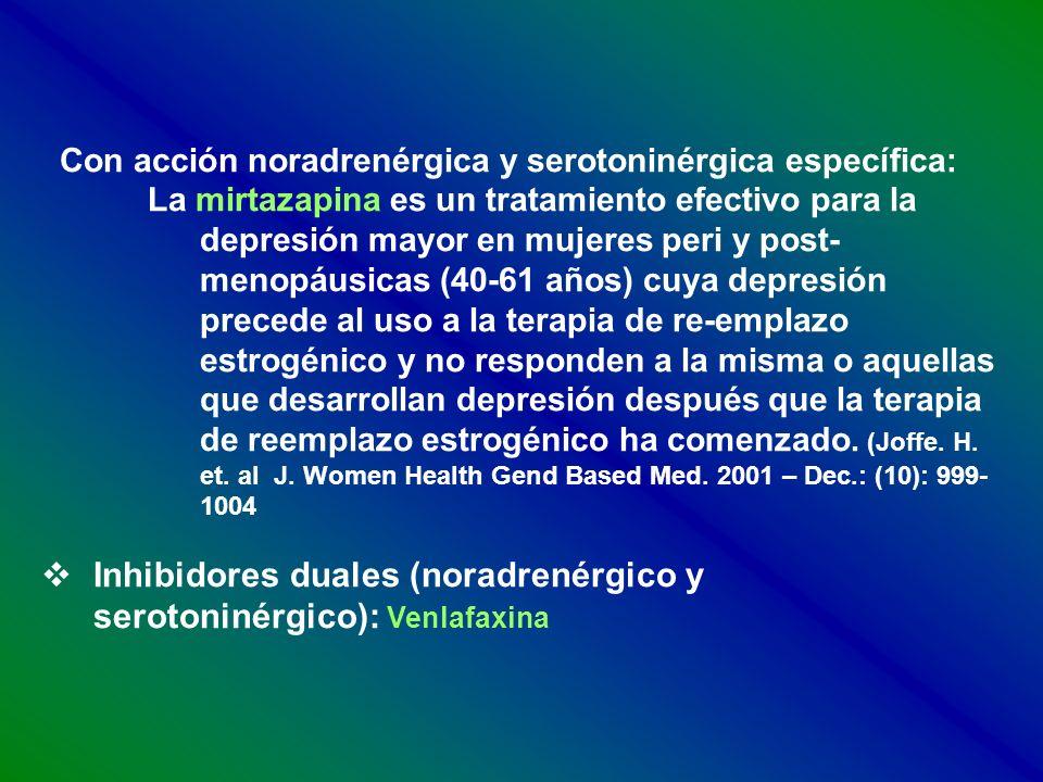 Con acción noradrenérgica y serotoninérgica específica: La mirtazapina es un tratamiento efectivo para la depresión mayor en mujeres peri y post- meno