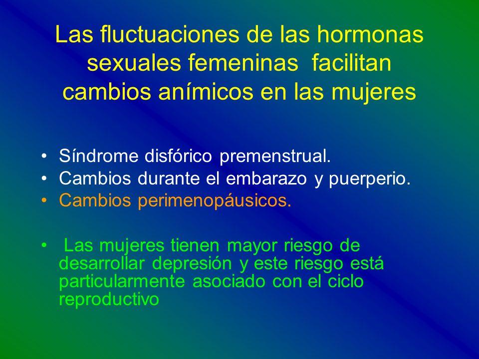 Las fluctuaciones de las hormonas sexuales femeninas facilitan cambios anímicos en las mujeres Síndrome disfórico premenstrual. Cambios durante el emb