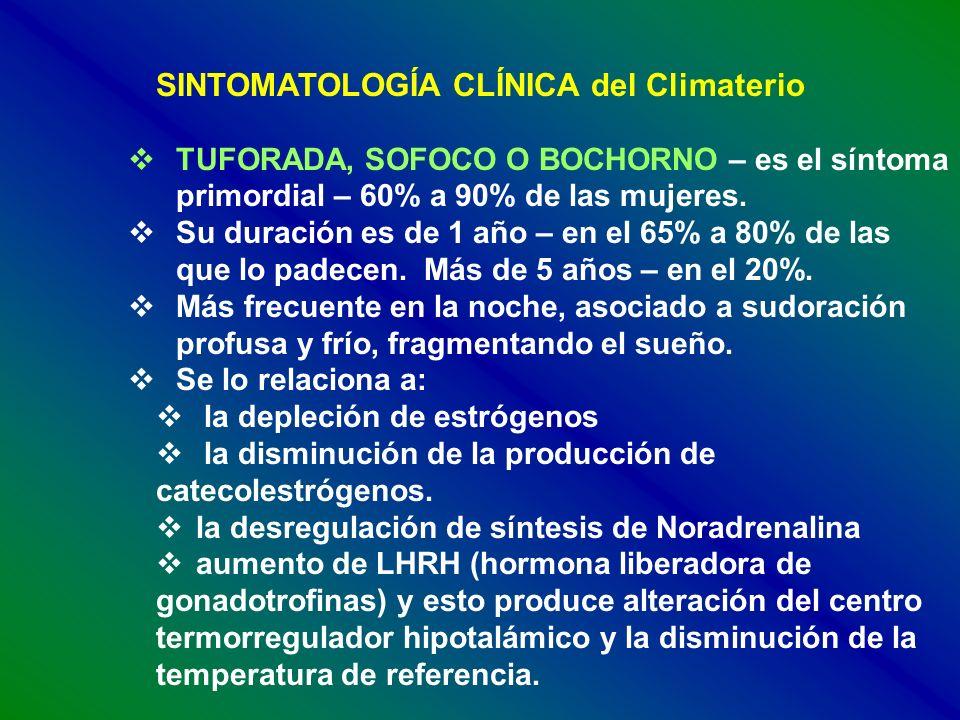 SINTOMATOLOGÍA CLÍNICA del Climaterio TUFORADA, SOFOCO O BOCHORNO – es el síntoma primordial – 60% a 90% de las mujeres. Su duración es de 1 año – en