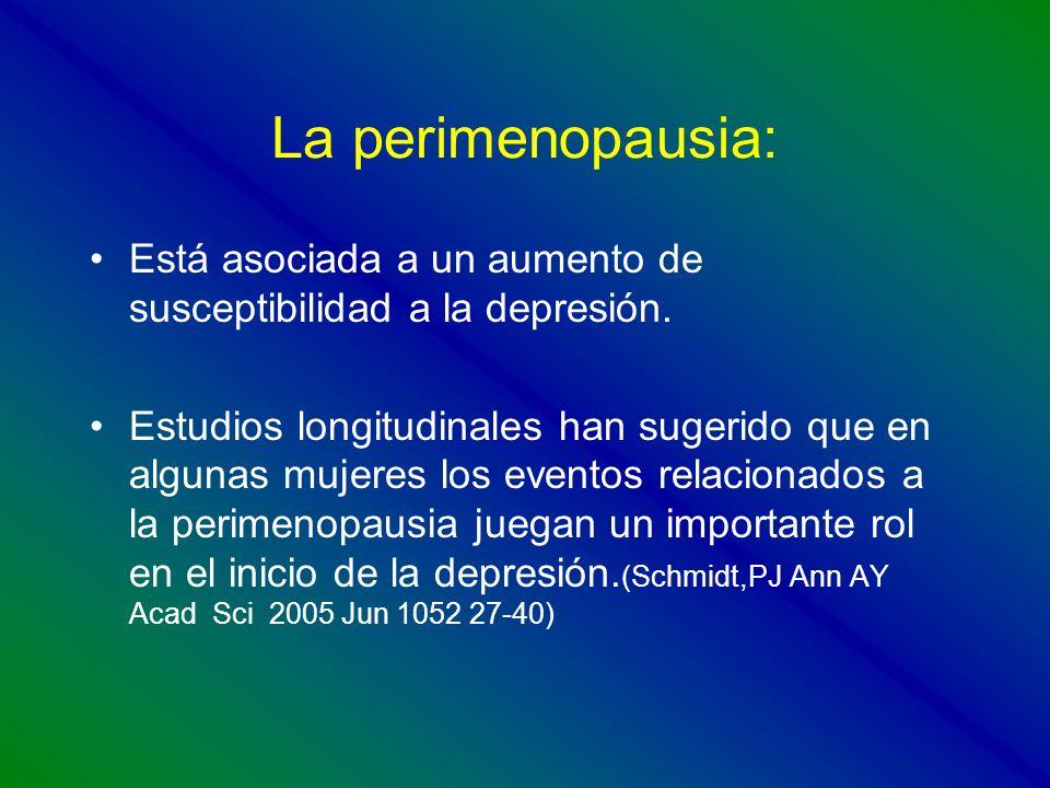La perimenopausia: Está asociada a un aumento de susceptibilidad a la depresión. Estudios longitudinales han sugerido que en algunas mujeres los event