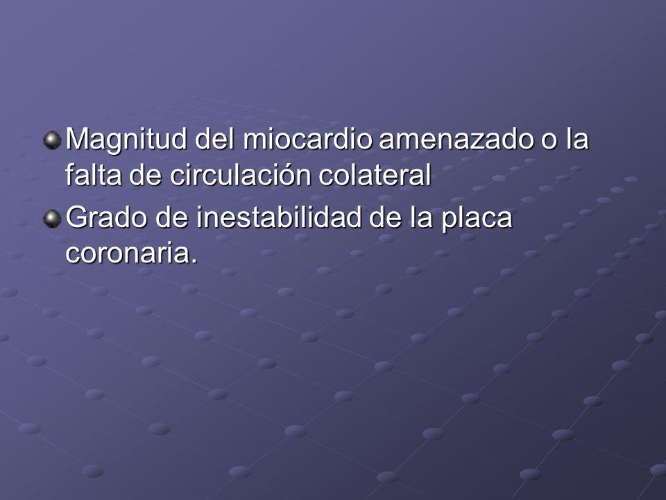 Magnitud del miocardio amenazado o la falta de circulación colateral Grado de inestabilidad de la placa coronaria.