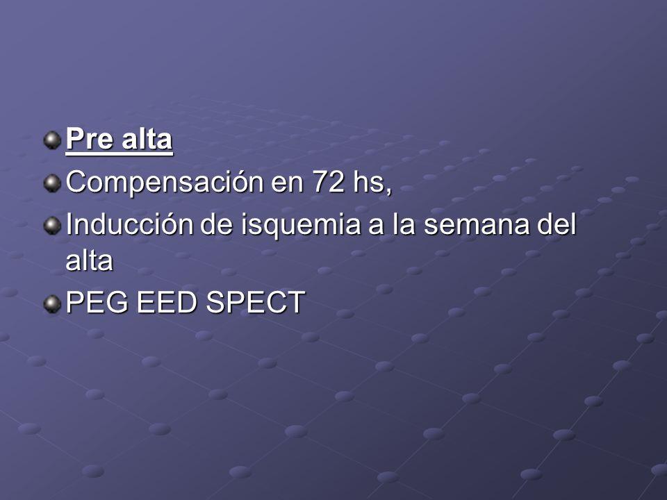 Pre alta Compensación en 72 hs, Inducción de isquemia a la semana del alta PEG EED SPECT