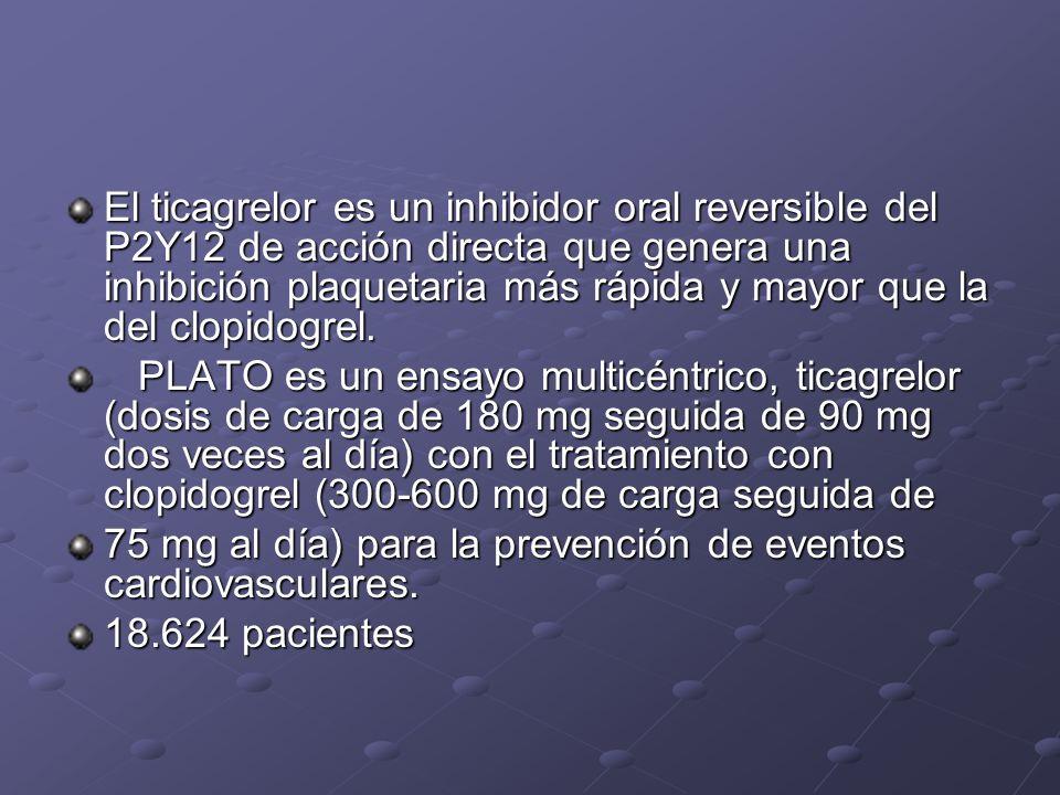 El ticagrelor es un inhibidor oral reversible del P2Y12 de acción directa que genera una inhibición plaquetaria más rápida y mayor que la del clopidog